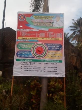 Spanduk APBDesa Sawan Sudah Terpasang Di Areal Taman Desa